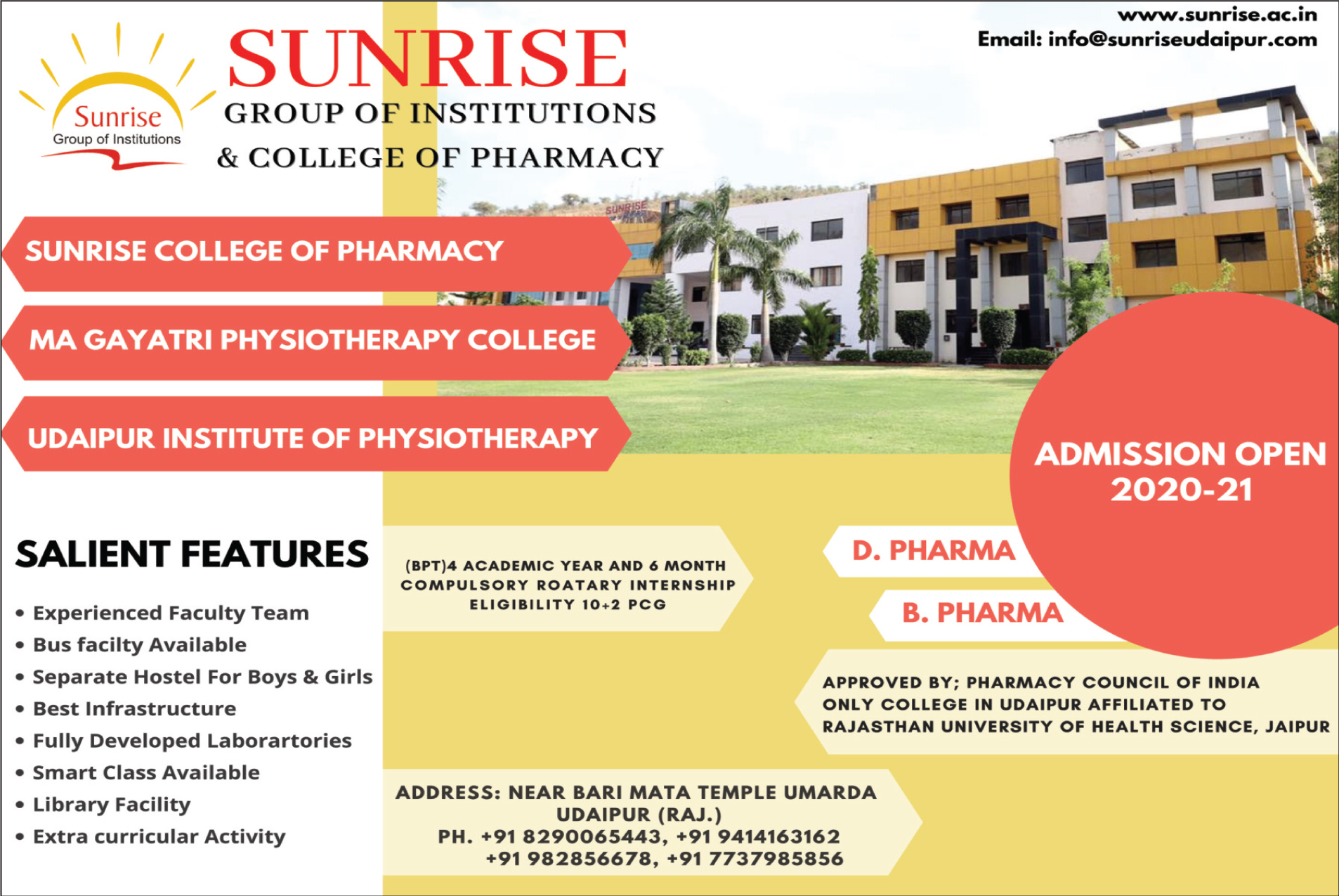 Advertisement Sunrise Group of Institutions & College of Pharmacy