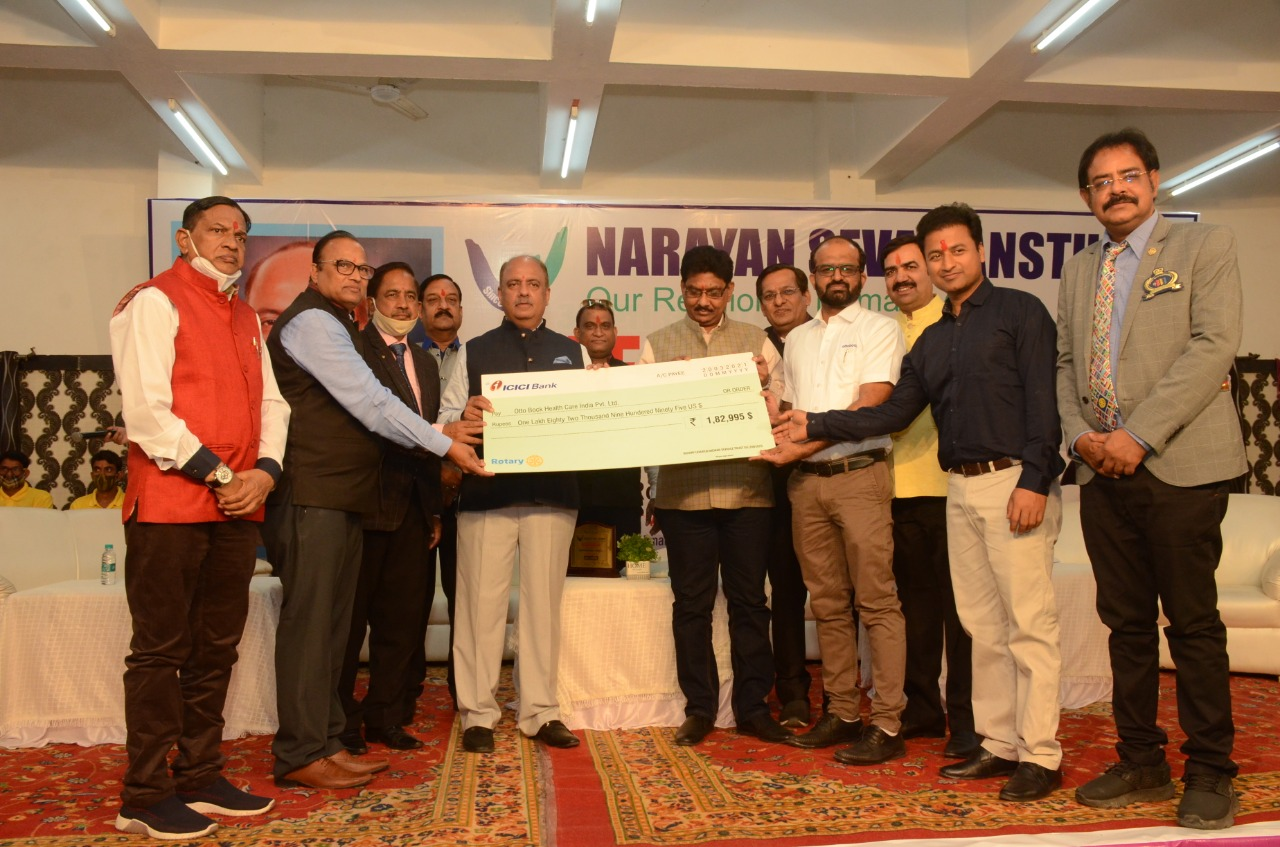 Narayan Seva Sansthan gets a cheque of one crore thirty-five lakhs