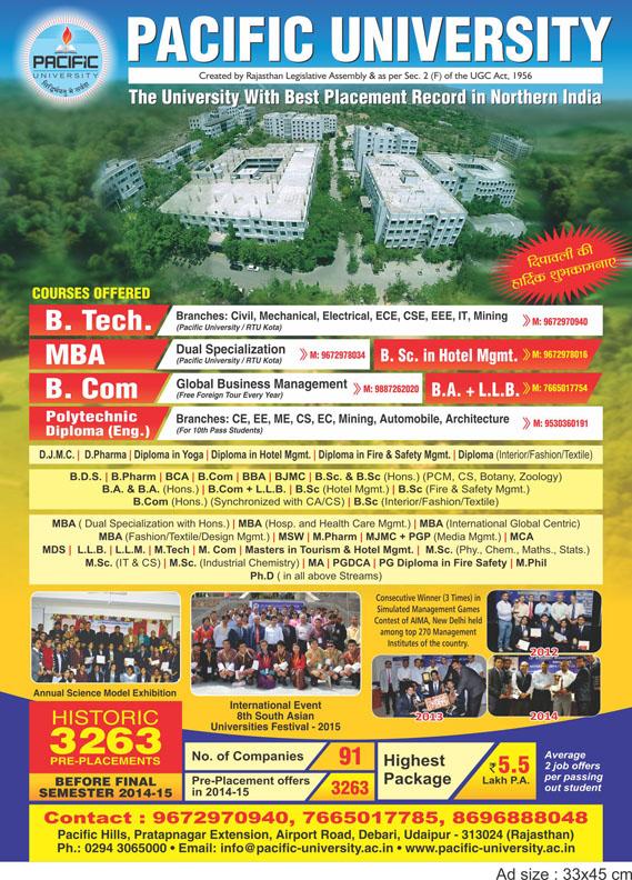 Pacific University Deepawali Advertisement