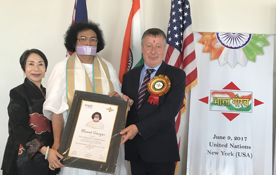 Acharya Lokesh honoured with Bharat Gaurav Award at UNO