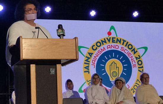 Acharya Lokesh addressed JAINA Convention in USA
